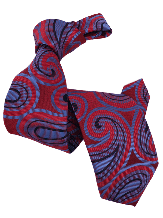 DMITRY 7-Fold Men's Red Patterned Italian Silk Tie