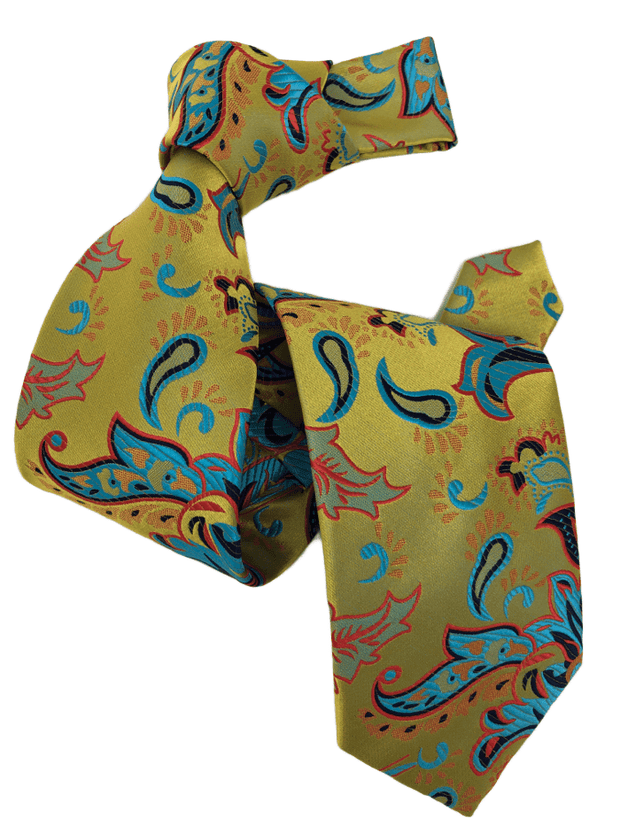 DMITRY 7-Fold Men's Yellow Patterned Italian Silk Tie