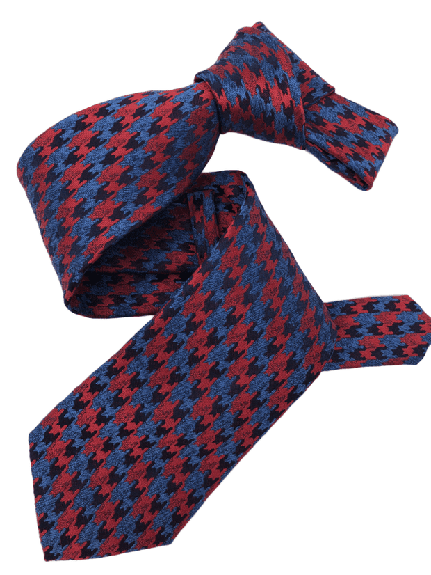 DMITRY Men's Red/Blue Patterned Italian Silk Tie