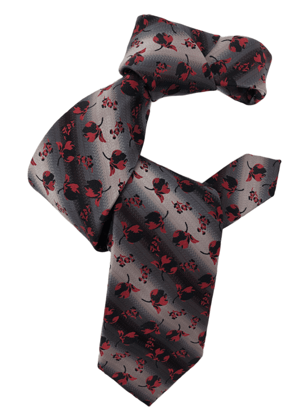 DMITRY Men's Red Floral Italian Silk Tie