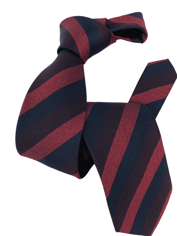 DMITRY Men's Red/Navy Striped Italian Silk Tie