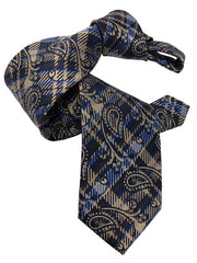 DMITRY 7-Fold Light Brown Paisley Italian Silk Tie - Dmitry Ties