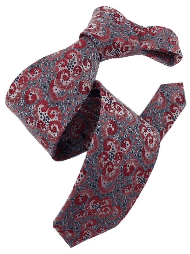 DMITRY Men's Red/Grey Patterned Italian Silk Tie