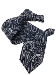 DMITRY 7-Fold Navy/Silver Paisley Italian Silk Tie - Dmitry Ties