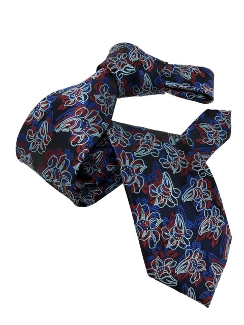 DMITRY Men's 7-Fold Navy Floral Italian Silk Tie