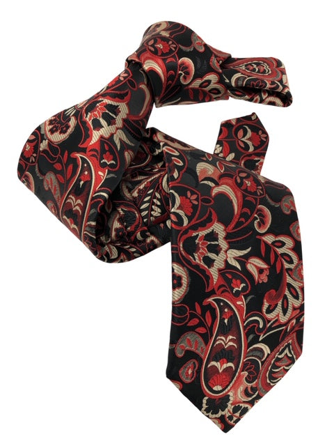 DMITRY Men's 7-Fold Red Patterned Italian Silk Tie