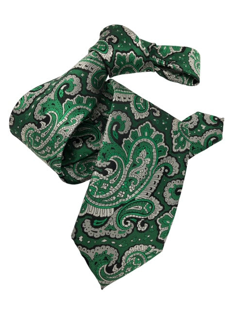 DMITRY Men's 7-Fold Green Paisley Silk Tie