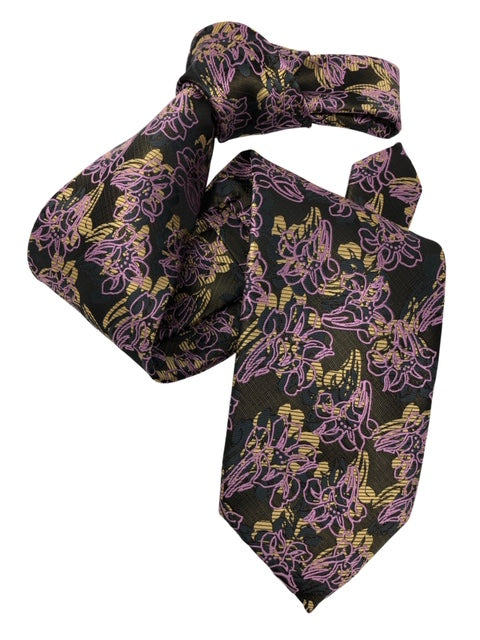DMITRY Men's 7-Fold Pink Floral Italian Silk Tie