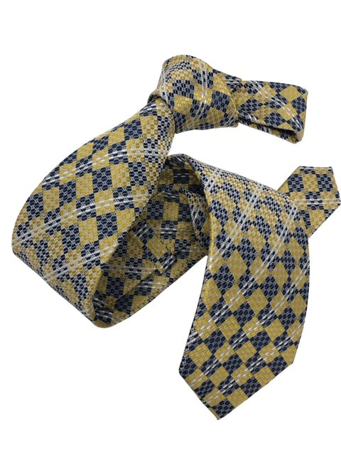 DMITRY Men's Yellow Patterned Italian Silk Tie