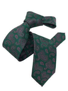 DMITRY Men's Green Paisley Patterned Italian Silk Tie