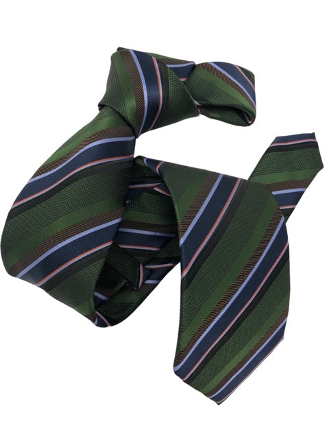 DMITRY Men's Green Striped Italian Silk Tie