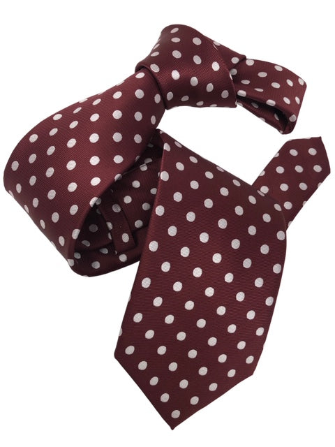 DMITRY Men's Burgundy Polka Dot Patterned Italian Silk Tie