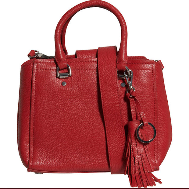 Women's Made in Italy Leather Tonal Trim Satchel with Tassel
