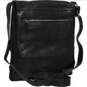 Black Made in Italy Leather Flap Crossbody Bag