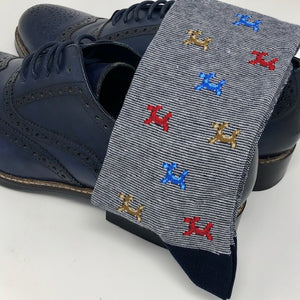 DMITRY Navy Patterned Made in Italy Mercerized Cotton Blend Socks