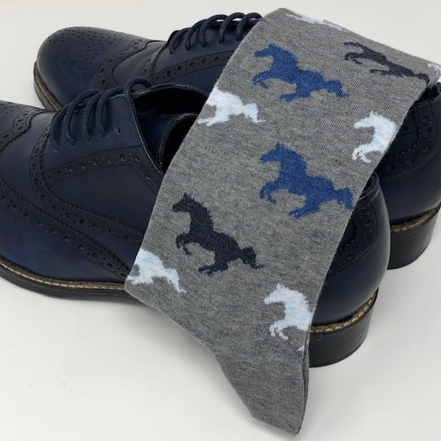 DMITRY Horse Patterned Made in Italy Mercerized Cotton Blend Socks
