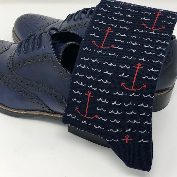 DMITRY Navy Anchor Patterned Made in Italy Mercerized Cotton Blend Socks