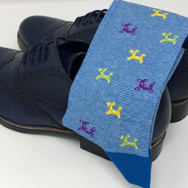 DMITRY Blue Patterned Made in Italy Mercerized Cotton Blend Socks