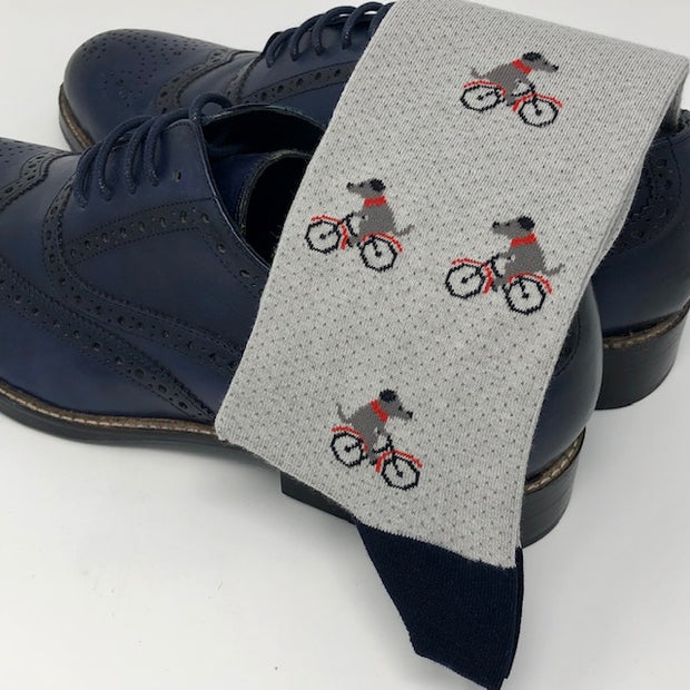 DMITRY Light Grey Dog On Bike Patterned Made in Italy Mercerized Cotton Blend Socks