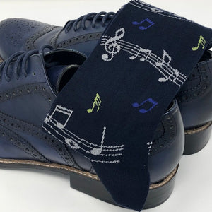 DMITRY Navy Musical Notes Patterned Made in Italy Mercerized Cotton Blend Socks