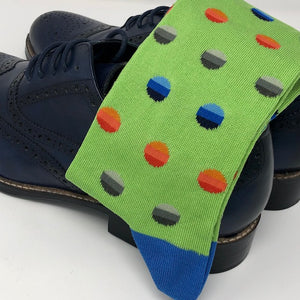 DMITRY Green Patterned Made in Italy Mercerized Cotton Blend Socks
