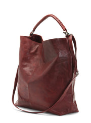 Women's Made In Italy Oversized Burgundy Leather Hobo Bag
