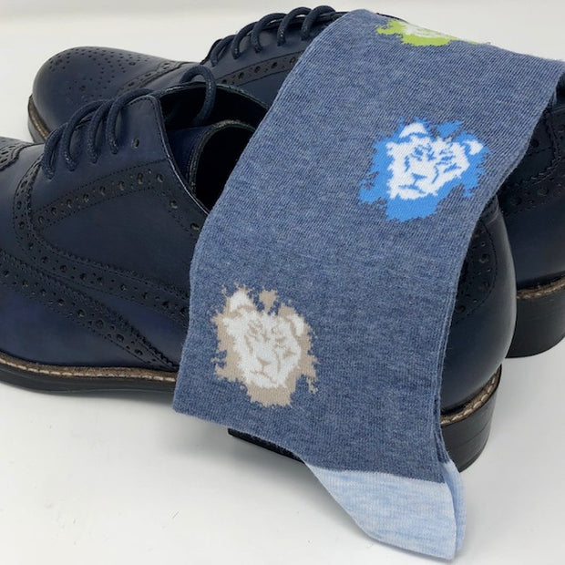 DMITRY Blue Lion Patterned Made in Italy Mercerized Cotton Blend Socks