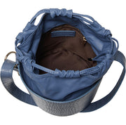 Women's Made In Italy Leather Blue Crocco Bucket Shoulder Bag