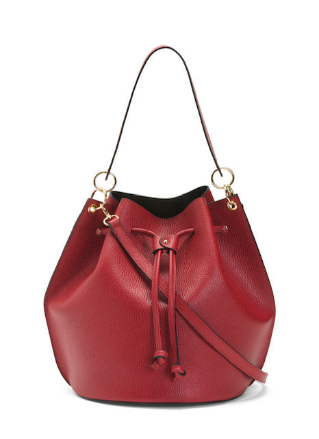 Women's Made In Italy Red Leather Bucket Shoulder Bag
