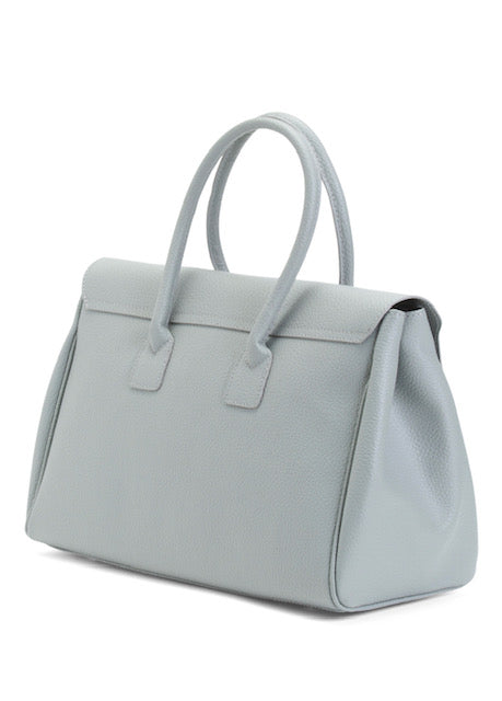 Women's Made In Italy Grey Leather Satchel