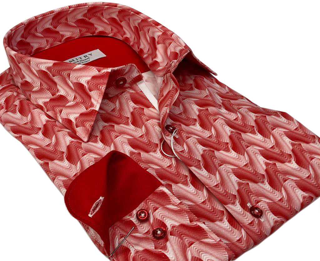 DMITRY Italian Coral Cotton Men's Long Sleeve Shirt