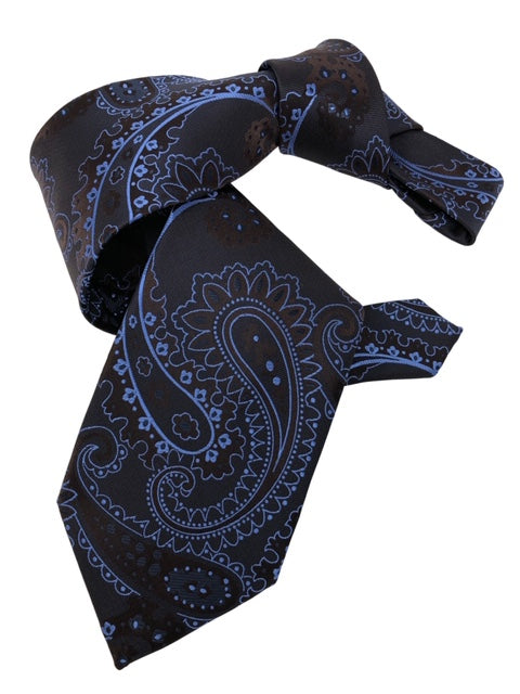 DMITRY 7-Fold Brown/Light Blue Paisley Italian Silk Tie