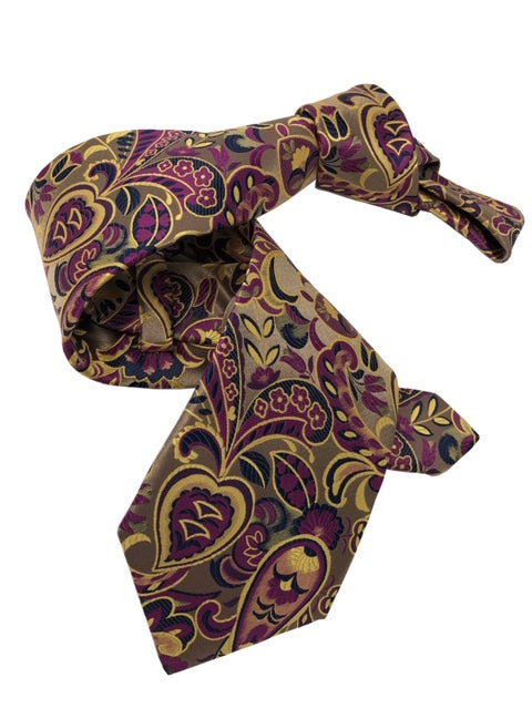 DMITRY 7-Fold Gold/Purple Paisley Italian Silk Tie