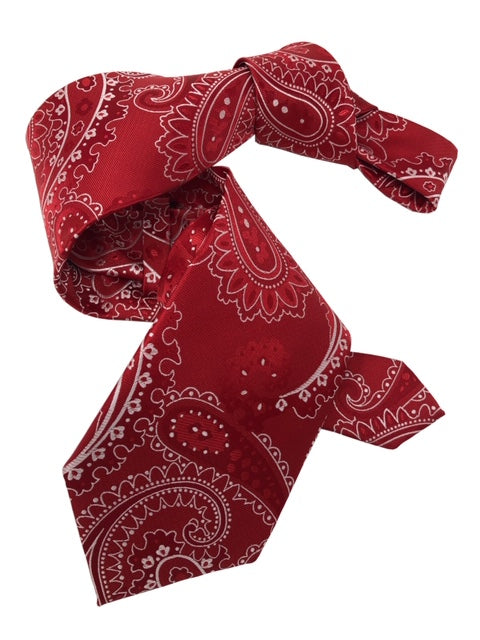 DMITRY 7-Fold Red Paisley Italian Silk Tie