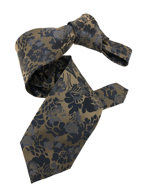 DMITRY 7-Fold Brown Floral Italian Silk Tie