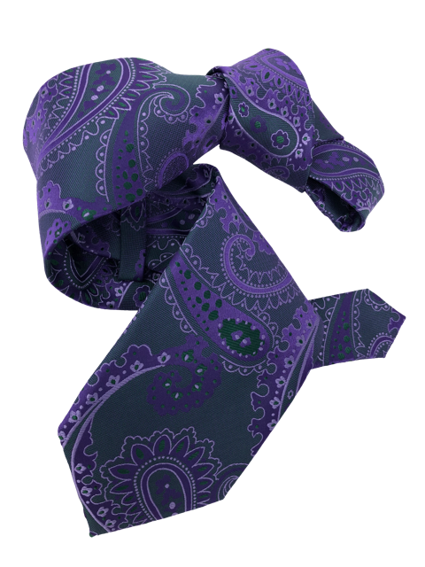 DMITRY 7-Fold Purple/Green Paisley Italian Silk Tie