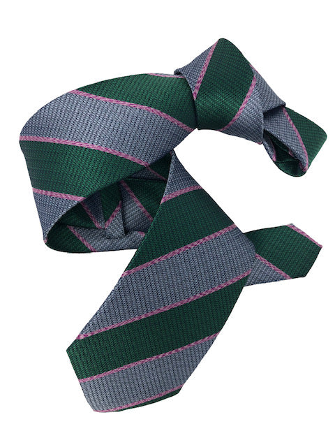DMITRY Green Striped Italian Silk Tie
