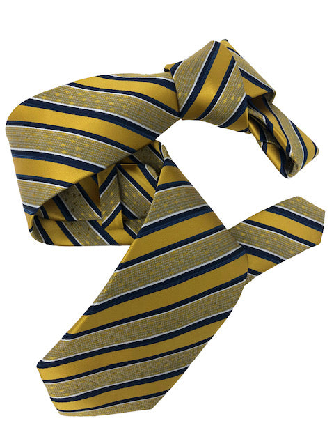 DMITRY Yellow Striped Italian Silk Tie