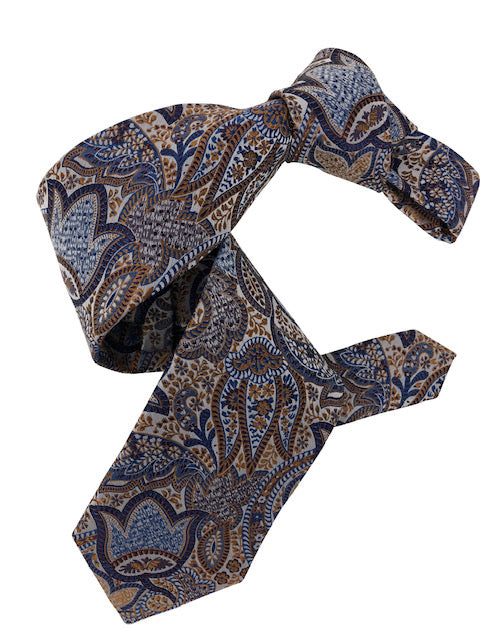 DMITRY 7-Fold Brown/Blue Paisley Italian Silk Tie