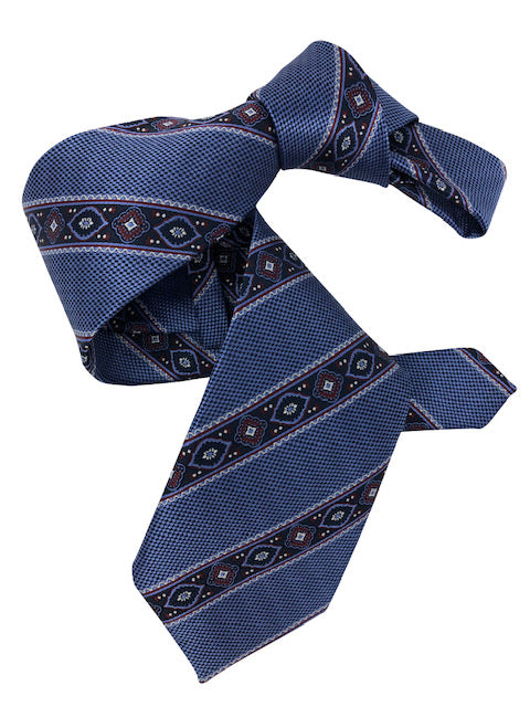DMITRY 7-Fold Blue Striped Italian Silk Tie