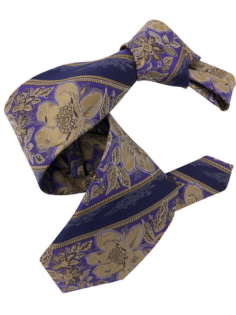 DMITRY 7-Fold Purple Floral Italian Silk Tie