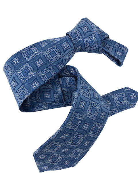DMITRY Men's Blue Patterned Italian Silk Tie