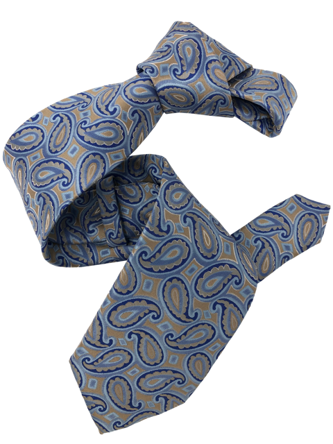 DMITRY Men's Light Blue Patterned Italian Silk Tie