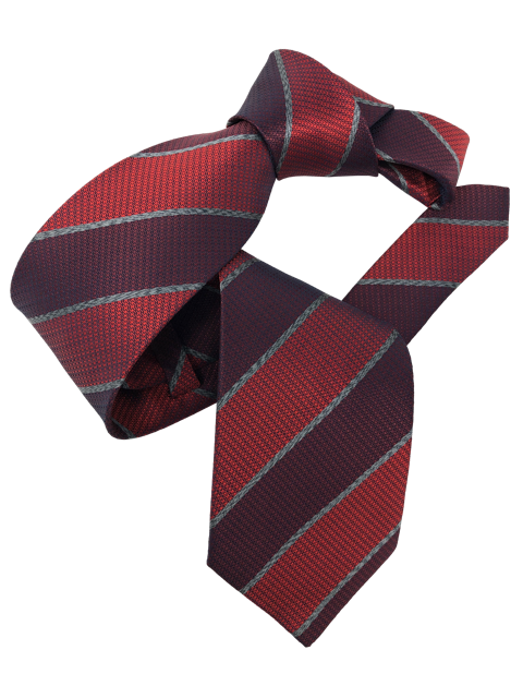 DMITRY Men's Burgundy Striped Italian Silk Tie