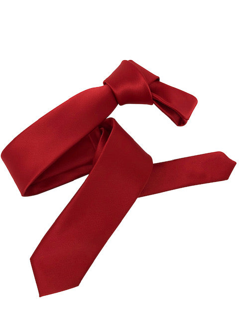 Dmitry Men's Red Italian Silk Solid Skinny Tie
