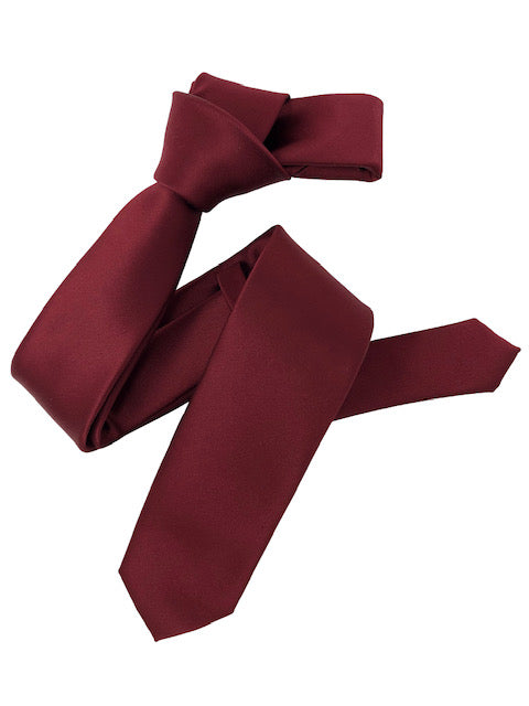 Dmitry Men's Burgundy Italian Silk Solid Skinny Tie