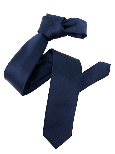Dmitry Men's Navy Italian Silk Solid Skinny Tie