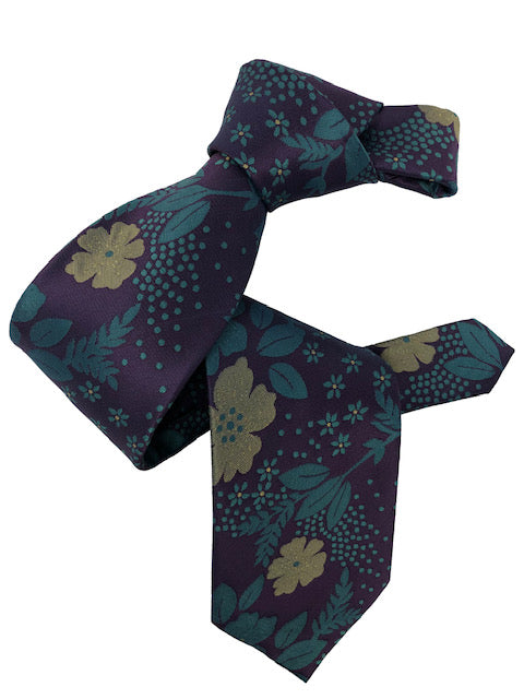 DMITRY Men's 7-Fold Purple Floral Italian Silk Tie