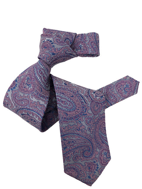 DMITRY Men's 7-Fold Light Purple Paisley Italian Silk Tie