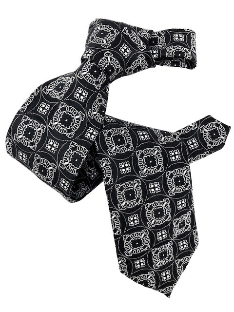 DMITRY Men's 7-Fold Black Patterned Italian Silk Tie